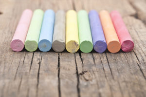 Pieces of colorful chalk.